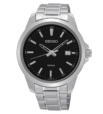 Đồng hồ Seiko nam kẻ sọc mặt đen SUR155P1