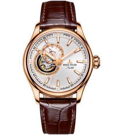 Đồng hồ cơ Open Heart vỏ vàng Reef Tiger RGA1639 PWB