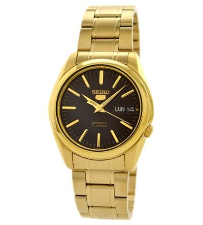 Đồng hồ Seiko 5 mạ vàng mặt đen SNKL50K1